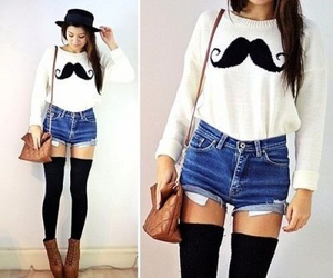 fashion, mustache, and outfit image