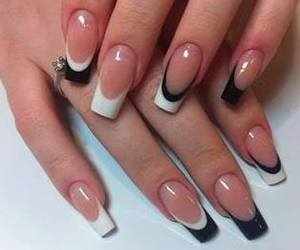 black, nails, and acrylic nails image