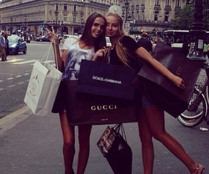 girl, shopping, and gucci image