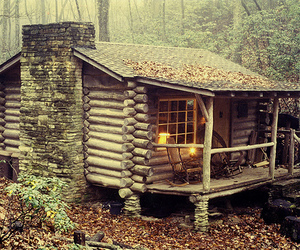 cabin, chaise, and log image