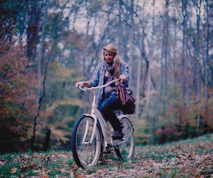 girl, bike, and forest image