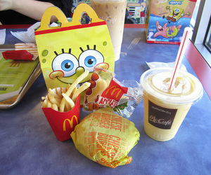 food, McDonalds, and spongebob image