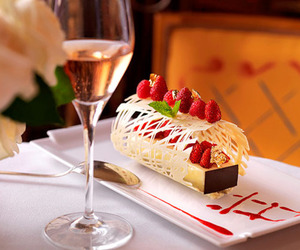 food, dessert, and champagne image