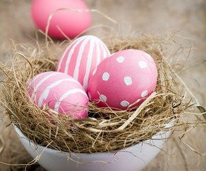 pink, easter, and eggs image