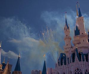 disney, castle, and fireworks image