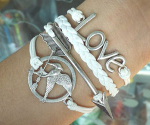 leather bracelet, infinity bracelet, and mockingjay pin bracelet image