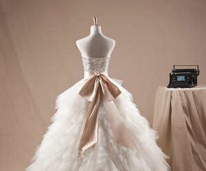 wedding dress, feathers, and floor length image