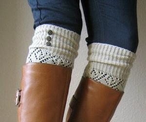 boots, fashion, and socks image