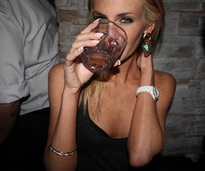 drink, girl, and blonde image