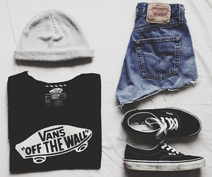 vans, outfit, and shorts image