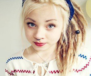 blonde, dreads, and septum image