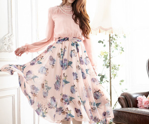 chiffon, fashion, and floral image