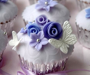 cupcake, butterfly, and purple image