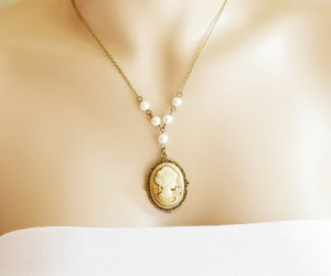 gift for her, bridesmaid gift, and cameo necklace image