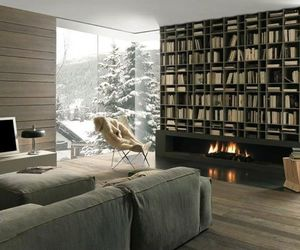 books, fire, and library image