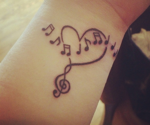 heart, notes, and music image