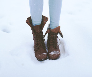 boots, winter, and first snow image