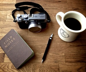 coffee, camera, and pen image