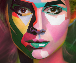 art, makeup, and colors image