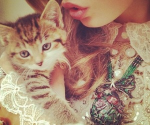 girl, cat, and kitty image