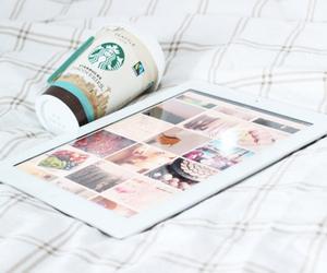 starbucks, ipad, and coffee image