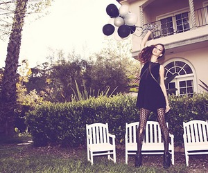 ballons, black and white, and chairs image