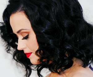 black hair, katy perry, and redlips image