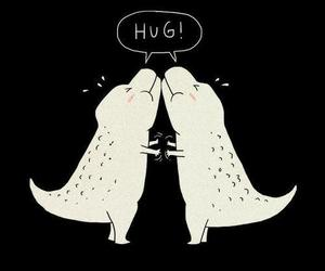 hug, dinosaur, and funny image