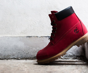 fashion, red, and timberland image