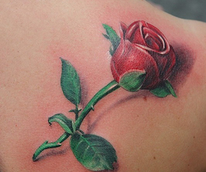 red rose and 3d tattoo image