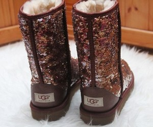 brown, sequin, and uggs image