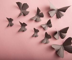art, bedroom, and butterflies image