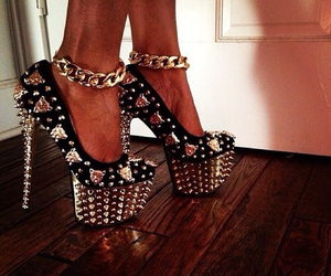 shoes, heels, and gold image