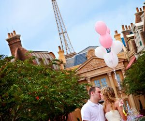 baloons, disney world, and eiffel tower image