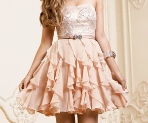 bow, pink, and dress image