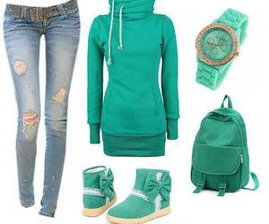 style, outfit, and green image