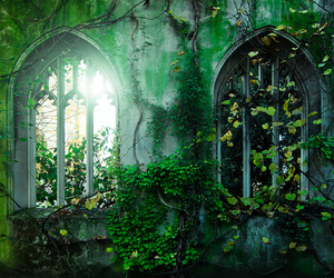 green, medieval, and windows image