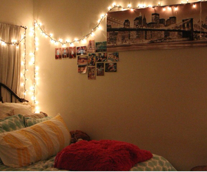 bedroom, lights, and pictures image