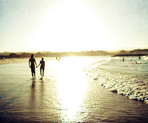 beach, couple, and photography image