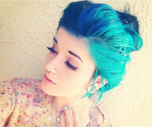 girl, hair, and blue image