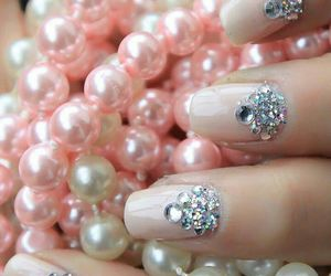 nails, pink, and pearls image