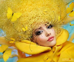 yellow and butterfly image