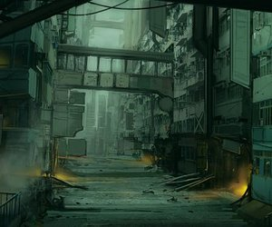 alley, scifi, and concept art image