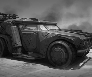 concept art, vehicle, and scifi image