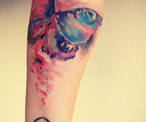 tattoo, butterfly, and watercolor image
