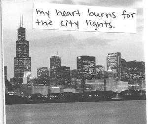 city, light, and quotes image