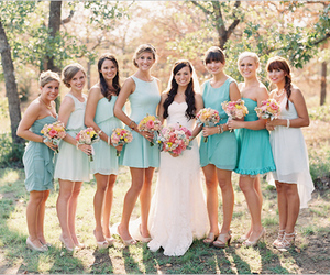 bridal party, bridesmaids, and mint image