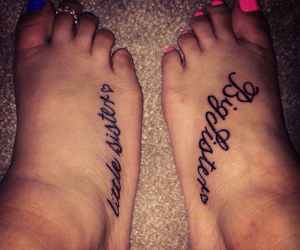 little sister, matching tattoo, and foot image
