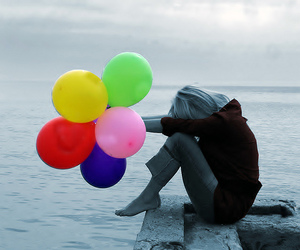 balloons, girl, and color image