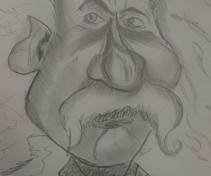 blackandwhite, drawing, and caricature image